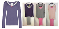 Ex Marks and Spencer Lace Trim Long Sleeve Pyjama Set Top Bottoms Size 10-20