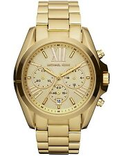 NEW MICHAEL KORS MK5605 GOLD BRADSHAW CHRONOGRAPH WATCH - 2 YEARS WARRANTY