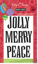 HERO ARTS Clear Stamps JOLLY MERRY PEACE # CL620 Poly  CHRISTMAS