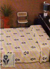 Vintage Crochet Pattern: Pansy Bedspread in Filet Crochet