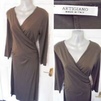 ❤ ARTIGIANO Made in Italy Size 12 Charcoal Brown Stretchy Wrap Effect Dress Soft
