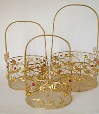 Gold Christmas Wire Baskets set of 3 Decoration party wedding