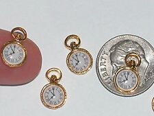 2 miniature dollhouse tiny little golden Clocks pocket watch time pendant charms