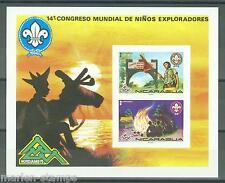 NICARAGUA  14th WORLD JAMBOREE ORANGE IMPERFORATED SOUVENIR SHEET  MINT NH