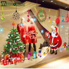 Merry Christmas Removable Tree Santa Claus Window Wall Stickers Shop Decor USA