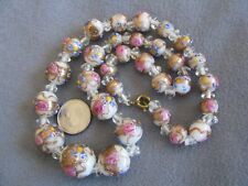 "17.2"" Vintage Venetian Murano Glass Wedding Cake Bead Necklace White Graduated"