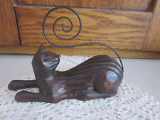COLLECTIBLE CAT FIGURE - CARVED WOOD / WIRE TAIL