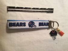 Chicago Bears inspired Key Chain Fob Wristlet with helmet and Suede Tassel