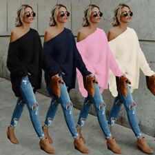 Women Long Sleeve Oversize Off Shoulder Knitted Sweater Jumper Cardigan Coat HX