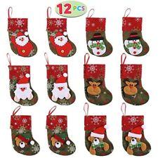12 Pack Mini Christmas Stockings Xmas 3D Character Plush Santa Tree Decorations
