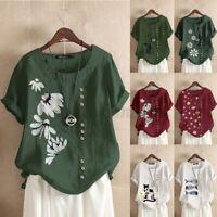 Women Summer Short Sleeve T-Shirt Tops Casual Floral Print Blouse Shirt Tee Plus