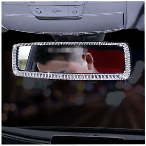 Car Interior Rearview Clear Glass Mirror Women Crystal Bling Diamond Decor Cover