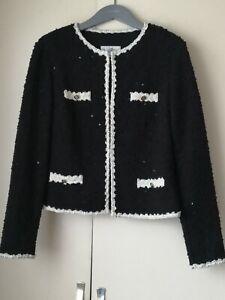 Joseph Ribkoff  Ladies Black And Cream Scatted Sequin Jacket  UK 12