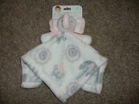 Blankets & Beyond Pink White Baby Elephant Owl Security Blanket Lovey Nunu NWT