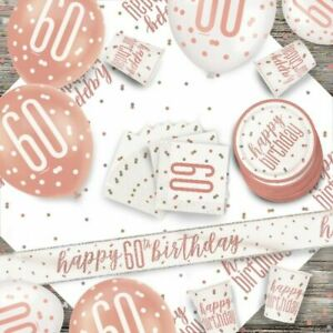 Rose Gold 60th Birthday Party Supplies Tableware & Decorations Glitz Age 60