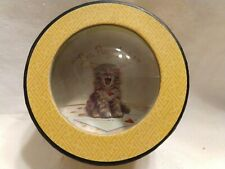 """Vtg Htf Punch Studio Crystal Paperweight Cat """"I'm Purrfect"""" made in France ;Nib"""