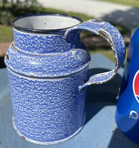 "Antique Small Graniteware Cream Can 4 1/2"" High Blue Speckled Rare Size"