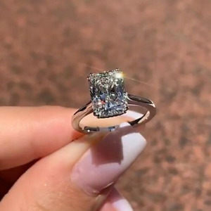 5.21CT Radiant Cut Brilliant Moissanite Engagement Ring In 14K White Gold Plated