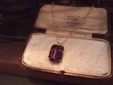 Vintage Jewellery Amethyst Purple Emerald Cut Crystal Necklace Pendant 18 x 13mm