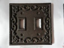 Cast iron Double light bronze switch plate shabby cottage fleur de lis chic.
