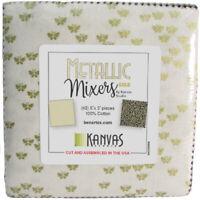 "Metallic Mixers GOLD Charm Pack(42) 5"" squares Cotton Quilting Fabric Benartex"