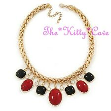 Dramatic Red & Black Charms Heavy Braided Gold Plated Crystal Statement Necklace