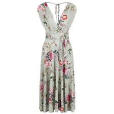 Vintage 50s Retro Sage Green Floral Slinky Wrap Swing Summer Dress