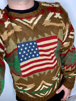 Polo Ralph Lauren Small Indian Sweater Aztec RRL VTG USA Flag Southwestern Rugby