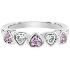 Rhodium Plated Pink Clear Crystal Heart Princess Baby Rings