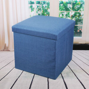 Linen Foldable Storage Stool Fabric Storage Ottoman Change Shoes Sofa Stool Gray