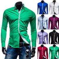 Tops Luxury Mens Button Shirt Stylish Slim Fit Long Sleeve Casual Dress Shirts r