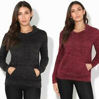 Womens Soft Marl Knit Hoodie Hooded Loose Baggy Jumper Sweater Top Sweatshirt