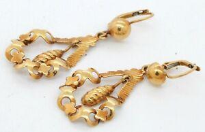 Antique 18K yellow gold elegant high fashion drop dangle earrings