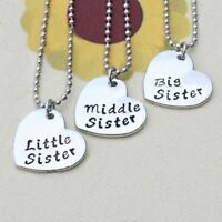 *UK* 925 SILVER PLT 3x 'BIG MIDDLE LITTLE SISTER' LOVE HEART SIS FAMILY NECKLACE