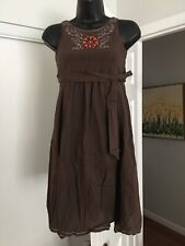 Anthropologie Camilla Womens Brown Embroidered Beading Sleeveless Dress Sz 10 R2