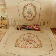 "63"" Vintage Huge full set  Victorian Rose Tramme Needlepoint Canvas For Chair"