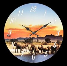 Horloge Murale avec Eléphants - Décoration Murale Montre Afrique Savannah