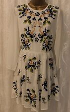 ASOS Floral Embroidered Long Sleeve Skater Flare Shift Wedding Party Dress 14 42