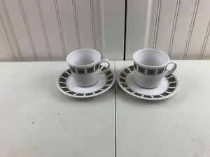 Noritake Progression China Arbesque 9009 Coffee Cups And Saucers