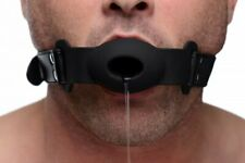 Strict Faux Leather Hollow Silicone Gag Kinky Adult Mask Bondage Black Head Hole