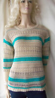 Monsoon beige turquoise knitted stripe jumper tunic 3/4 sleeve size 12/14 M