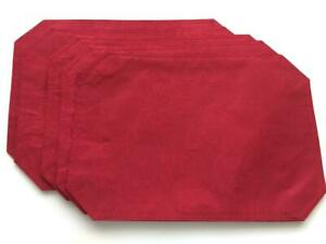 SET 5 placemats red poinsettia Christmas 18 x 13 double sided