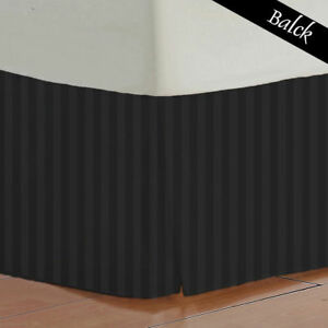 1000 TC Black Striped Bed Skirt Select Drop Length All US Size 100% Egy. Cotton