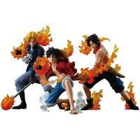3pcs Anime One Piece Luffy Sabo  Ace Action Figure red hawk haki fire Mera mera