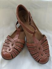 Womens Clarks Wendy Alto Brown T-strap Mary Jane Sandals Size 10M