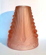 SCHNEIDER : Rare tulipe rose Lampe art déco signé moderniste verre 1930 ancien