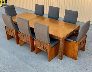 MCM Lane Mid Century  Brutalist Dining Table and 8 chairs  style of Paul Evans