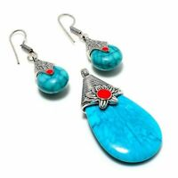 "Amazing Santa Rosa Turquoise, Coral Handmade Ethnic Style Jewelry Pendant 2.30"""