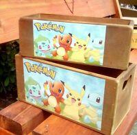 "Sale!  Retro vintage style wooden ""POKEMON"" storage box/crate - 2 sizes."