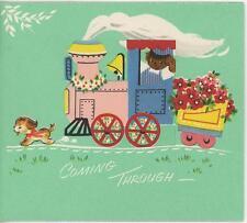 VINTAGE TEDDY BEAR SPANIEL PUPPY DOG STEAM ENGINE TRAIN CAR LOAD WISH CARD PRINT
